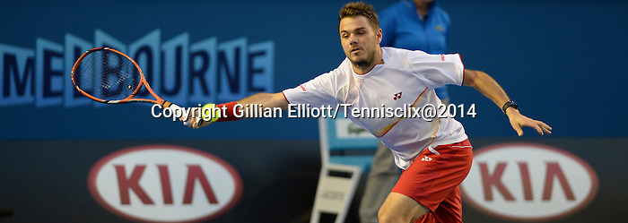 Stanislaus Wawrinka (SUI) defeats Novak Djokovic (SRB) at the Australian Open in Melbourne, Australia on January 21, 2014