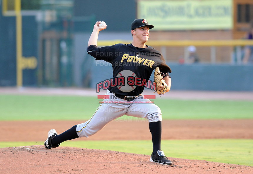 Starting pitcher Jameson Taillon (46) of the West Virginia Power, Class A affiliate of the Pittsburgh Pirates, in a game against the Savannah Sand Gnats on July 21, 2011, at Grayson Stadium in Savannah, Georgia. Taillon was a first-round pick of the Pirates in the 2010 First-Year Player Draft. (Tom Priddy/Four Seam Images)