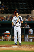 Lakeland Flying Tigers shortstop Cole Peterson (9) at bat during a Florida State League game against the Tampa Tarpons on April 5, 2019 at Publix Field at Joker Marchant Stadium in Lakeland, Florida.  Lakeland defeated Tampa 5-3.  (Mike Janes/Four Seam Images)