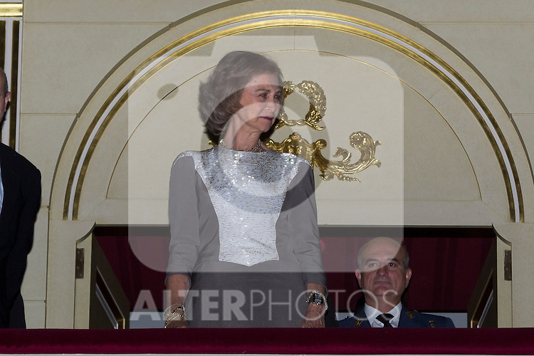 28.09.2012. Queen Sofia of Spain attends the opening of the season at the Teatro Real in Madrid, in the company of the Minister of Culture, José Ignacio Wert. In the image Queen Sofia. (Alterphotos/Marta Gonzalez)