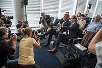 Pressekonferenz mit DB Infrastruktur-Vorstand Ronald Pofalla und Bundesminister fuer Verkehr und digitale Infrastruktur Alexander Dobrindt am Freitag den 28. Juli 2017 zum Thema Hochgeschwindigkeitsstrecke von Berlin nach Muenchen.<br /> 10. Dezember 2017 soll die Hochgeschwindigkeitsstrecke Berlin - Muenchen in Betrieb genommen werden. Es ist die groesste Angebotsverbesserung in der Geschichte der Deutschen Bahn. Reisende sollen fuer die Strecke dann nur noch ca. 4 Stunden benoetigen. In das Verkehrsprojekt Deutsche Einheit Nummer 8 wurden 10 Milliarden Euro wurden  investiert.<br /> Im Bild vlnr.: Ronald Pofalla und Alexander Dobrindt.<br /> 28.7.2017, Berlin<br /> Copyright: Christian-Ditsch.de<br /> [Inhaltsveraendernde Manipulation des Fotos nur nach ausdruecklicher Genehmigung des Fotografen. Vereinbarungen ueber Abtretung von Persoenlichkeitsrechten/Model Release der abgebildeten Person/Personen liegen nicht vor. NO MODEL RELEASE! Nur fuer Redaktionelle Zwecke. Don't publish without copyright Christian-Ditsch.de, Veroeffentlichung nur mit Fotografennennung, sowie gegen Honorar, MwSt. und Beleg. Konto: I N G - D i B a, IBAN DE58500105175400192269, BIC INGDDEFFXXX, Kontakt: post@christian-ditsch.de<br /> Bei der Bearbeitung der Dateiinformationen darf die Urheberkennzeichnung in den EXIF- und  IPTC-Daten nicht entfernt werden, diese sind in digitalen Medien nach §95c UrhG rechtlich geschuetzt. Der Urhebervermerk wird gemaess §13 UrhG verlangt.]