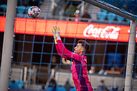 SAN JOSE, CA - MAY 22: JT Marcinkowski #1 of the San Jose Earthquakes saves the ball during a game between San Jose Earthquakes and Sporting Kansas City at PayPal Park on May 22, 2021 in San Jose, California.