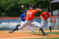 Greeneville Astros relief pitcher Juan Delis (8) delivers a pitch to the plate against the Kingsport Mets at Hunter Wright Stadium on July 7, 2015 in Kingsport, Tennessee.  The Mets defeated the Astros 6-4. (Brian Westerholt/Four Seam Images)