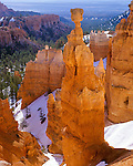 Bryce Canyon National Park, UT: Morning light on Thor's Hammer & spring snow along the Navajo Trail