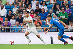 Marco Asensio Willemsen (L) of Real Madrid is followed by Mauro Wilney Arambarri Rosa of Getafe CF during the La Liga 2018-19 match between Real Madrid and Getafe CF at Estadio Santiago Bernabeu on August 19 2018 in Madrid, Spain. Photo by Diego Souto / Power Sport Images