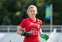 CARY, NC - SEPTEMBER 12: Sam Murphy #42 of the NC Courage exits the field after warming up before a game between Portland Thorns FC and North Carolina Courage at WakeMed Soccer Park on September 12, 2021 in Cary, North Carolina.