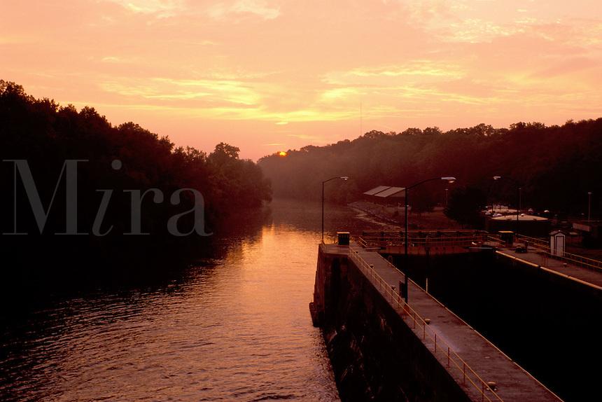 locks, canal, Seneca Falls, Finger Lakes, New York, NY, Double locks on Cayuga-Seneca Canal at sunrise. Locks create a 49 foot change in elevation along the canal.