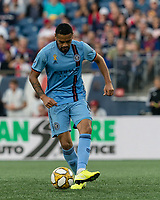 FOXBOROUGH, MA - SEPTEMBER 29: Alexander Callens #6 of New York City FC passes the ball during a game between New York City FC and New England Revolution at Gillette Stadium on September 29, 2019 in Foxborough, Massachusetts.