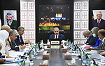 Palestinian Prime Minister Mohammed Ishtayeh chairs the weekly meeting of his government, in the West Bank city of Ramallah on September 20, 2021. Photo by Prime Minister Office