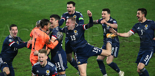 12th November 2020; Belgrade, Serbia; European International Football Playfoff Final, Serbia versus Scotland;  Scotland players celebrate victory after the penalty shootout with Kenny McClean, David Marshall, Callum Peterson, Oliver McBurnie, Ryan Jack, Scott McTominay front, Declan Gallagher