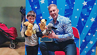 "BNPS.co.uk (01202 558833)<br /> Pic: Hansons/BNPS<br /> <br /> Pictured: Kyle Stewart, 6 Richard Cadell <br /> <br /> An iconic old Sooty TV puppet which Harry Corbett gave to a friend has emerged for sale for £1,200.<br /> <br /> The children's show inventor Harry Corbett gifted it to biology teacher Paul Mouncey, from Comrie, Perthshire, Scotland, in the mid-1970s.<br /> <br /> His daughter Tina Stewart, a veterinary receptionist from Dunblane, is now selling the hand puppet with Hanson's Auctioneers, of Etwall, Derbys.<br /> <br /> Mrs Stewart, a veterinary receptionist from Dunblane, Scotland, said: ""We took Sooty along with us and after the show met Richard - who immediately new our puppet was an original."