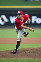 Carolina Mudcats starting pitcher Andrew Thurman (39) follows through on his delivery against the Winston-Salem Dash at BB&T Ballpark on July 23, 2015 in Winston-Salem, North Carolina.  The Dash defeated the Mudcats 3-2.  (Brian Westerholt/Four Seam Images)