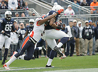 State College, PA - 11/02/2013:  TE Kyle Carter catches the winning touchdown in OT.  The extra point gave PSU a 7-point lead.  Penn State defeated Illinois by a score of 24-17 in overtime on Saturday, November 2, 2013, at Beaver Stadium.<br /> <br /> Photos by Joe Rokita / JoeRokita.com
