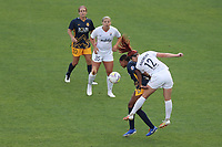 SANDY, UT - SEPTEMBER 26: Tziarra King #3 of Utah Royals FC and Morgan Andrews #12 of OL Reign battle for the ball before a game between OL Reign and Utah Royals FC at Rio Tinto Stadium on September 26, 2020 in Sandy, Utah.