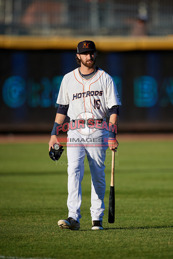 Bowling Green Hot Rods third baseman Zach Rutherford (15) before a game against the Peoria Chiefs on September 15, 2018 at Bowling Green Ballpark in Bowling Green, Kentucky.  Bowling Green defeated Peoria 6-1.  (Mike Janes/Four Seam Images)