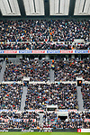 West ham players and fans at the top of the Leazes Stand, celebrate after Michail Antonio's goal put them 2-4 up. Newcastle v West Ham, August 15th 2021. The first game of the season, and the first time fans were allowed into St James Park since the Coronavirus pandemic. 50,673 people watched West Ham come from behind twice to secure a 2-4 win.