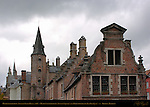 Huidevettershuis Tanner's Guild House 1450, Huidenvettersplein Tanner's Square and Rozenhoedkaai Red Hat Quay, Bruges, Brugge, Belgium