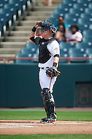 Bowie Baysox catcher Chance Sisco (12) during the second game of a doubleheader against the Akron RubberDucks on June 5, 2016 at Prince George's Stadium in Bowie, Maryland.  Bowie defeated Akron 12-7.  (Mike Janes/Four Seam Images)
