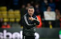 Watford manager Nigel Pearson gives a thumb up at full time during the Premier League match between Watford and Manchester United at Vicarage Road, Watford, England on 22 December 2019. Photo by Andy Rowland.