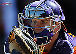 Catcher Chris Okey (25) of the Clemson Tigers in the Reedy River Rivalry game against the South Carolina Gamecocks on March 1, 2014, at Fluor Field at the West End in Greenville, South Carolina. South Carolina won, 10-2.