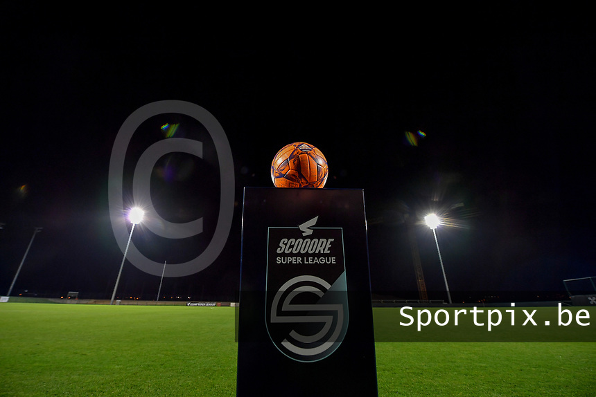 illustration picture showing the Scooore Super League ball holder during a female soccer game between RSC Anderlecht Dames and SV Zulte Waregem on the 10 th matchday of the 2020 - 2021 season of Belgian Womens Super League , friday 18 th of December 2020  in Tubize , Belgium . PHOTO SPORTPIX.BE | SPP | DAVID CATRY