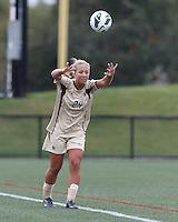 Boston College forward Rachel Davitt (24) throw in. Pepperdine University defeated Boston College,1-0, at Soldiers Field Soccer Stadium, on September 29, 2012.