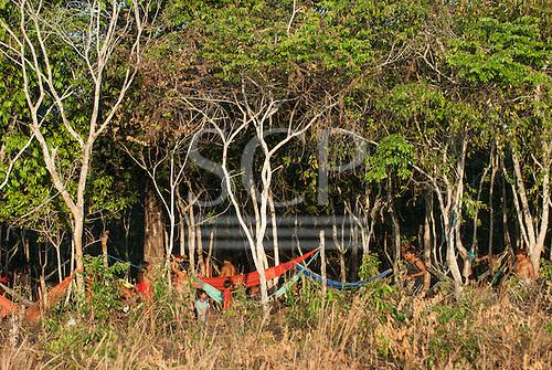 Xingu Indigenous Park, Mato Grosso, Brazil. Aldeia Matipu. Guest encampment  in the forest for the Kuarup festival.