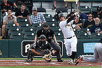Bradenton Marauders third baseman Wyatt Mathisen (15) at bat in front of catcher Chris Hoo and umpire Dave Attrdige during a game against the Jupiter Hammerheads on April 18, 2015 at McKechnie Field in Bradenton, Florida.  Bradenton defeated Jupiter 4-1.  (Mike Janes/Four Seam Images)