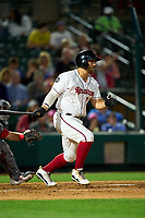Rochester Red Wings Daniel Palka (23) bats during a game against the Worcester Red Sox on September 3, 2021 at Frontier Field in Rochester, New York.  (Mike Janes/Four Seam Images)