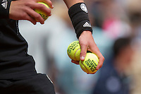 France, Paris , May 26, 2015, Tennis, Roland Garros, hand and balls<br /> Photo: Tennisimages/Henk Koster