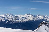 CRANS-MONTANA, SWITZERLAND - MAY 28: Pointe de la plaine Morte at Pointe de la Plaine Morte on May 28, 2021 in Crans-Montana, Switzerland.
