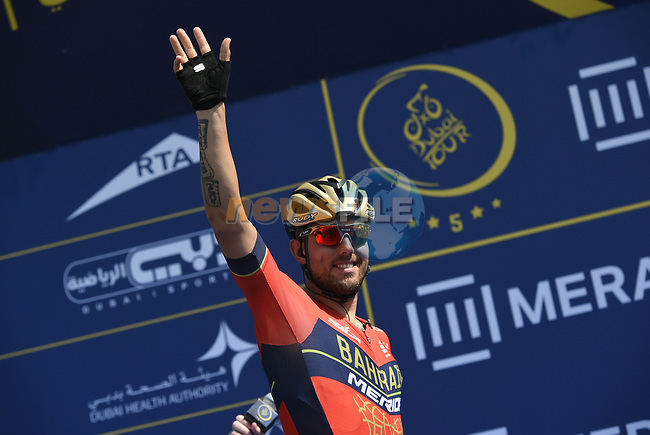 Sonny Colbrelli (ITA) Bahrain-Merida at sign on before the start of Stage 5 The Meraas Stage final stage of the Dubai Tour 2018 the Dubai Tour's 5th edition, running 132km from Skydive Dubai to City Walk, Dubai, United Arab Emirates. 10th February 2018.<br /> Picture: LaPresse/Fabio Ferrari | Cyclefile<br /> <br /> <br /> All photos usage must carry mandatory copyright credit (© Cyclefile | LaPresse/Fabio Ferrari)