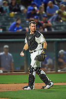 Josh Thole (21) of the Salt Lake Bees during the game against the Oklahoma City Dodgers at Smith's Ballpark on July 31, 2019 in Salt Lake City, Utah. The Dodgers defeated the Bees 5-3. (Stephen Smith/Four Seam Images)