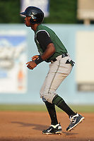 Augusta GreenJackets Chris Lofton #5 leads off first during a game against the Asheville Tourists at McCormick Field in Asheville,  North Carolina;  June 1, 2011.  The GreenJackets won the game 13-6.  Photo By Tony Farlow/Four Seam Images