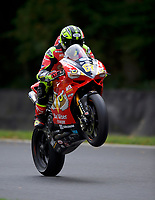Shane Byrne (67) of Be Wiser Ducati pulls a wheelie at the end of practice in the MCE BRITISH SUPERBIKE Championships 2017 at Brands Hatch, Longfield, England on 13 October 2017. Photo by Alan  Stanford / PRiME Media Images.