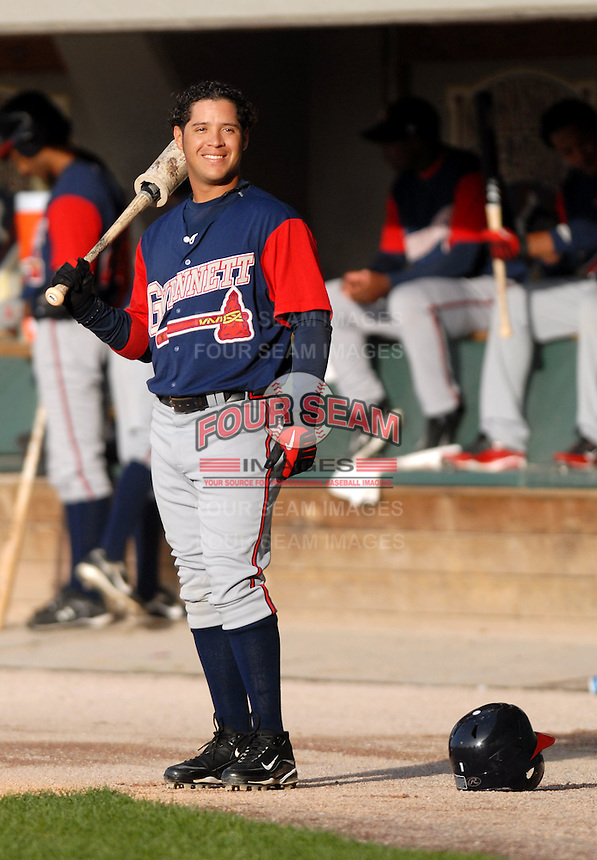 Gwinnett Braves SS Gregor Blanco awaits the first pitch at McCoy Stadium in Pawtucket, RI 4-30-09  (Photo by Ken Babbitt/Four Seam Images)