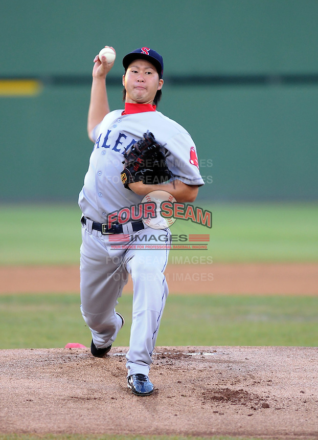 Starting pitcher Junichi Tazawa (13) of the Salem Red Sox in a game against the Potomac Nationals on June 16, 2011, at Pfitzner Stadium in Woodbridge, Va. Tazawa was on a Major League rehab assignment from the Boston Red Sox. (Tom Priddy/Four Seam Images)