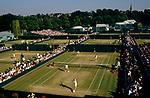 Wimbledon tennis 1980s, outside courts view towards Wimbledon village St Mary's Church London SW19 1985