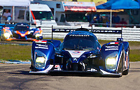 The #7 Peugot 908 of Marc Gene, Alexander Wurz, and Anthony Davidson races through a turn during qualifying for the 12 Hours of Sebring, Sebring International Raceway, Sebring, FL, March 18, 2011.  (Photo by Brian Cleary/www.bcpix.com)