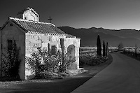 Small chapel with roses at entry of Castello di Amorosa. Napa Valley, California. Property relased