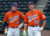 Catchers Phil Pohl (9) and Spencer Kieboom (22) of the Clemson Tigers prior to a game against the South Carolina Gamecocks on Tuesday, March 8, 2011, at Fluor Field in Greenville, S.C.  Photo by Tom Priddy / Four Seam Images