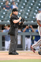Umpire Jennifer Pawol works a game between the Columbia Fireflies and Rome Braves on Tuesday, June 4, 2019, at Segra Park in Columbia, South Carolina. Columbia won, 3-2. (Tom Priddy/Four Seam Images)