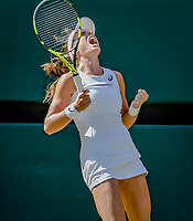 London, England, 5 th July, 2017, Tennis,  Wimbledon,     Johanna Konta (GBR) celebrates matchpoint in her match against Donna Vekic (CRO)<br /> Photo: Henk Koster/tennisimages.com