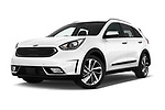 Stock pictures of low aggressive front three quarter view of 2017 KIA Niro Sense 5 Door SUV Low Aggressive