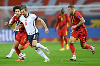 15th November 2020; Leuven, Belgium;  Harry Kane forward of England is challenged by Axel Witsel midfielder of Belgium and Toby Alderweireld defender of Belgium during the UEFA Nations League match group stage final tournament - League A - Group 2 between Belgium and England