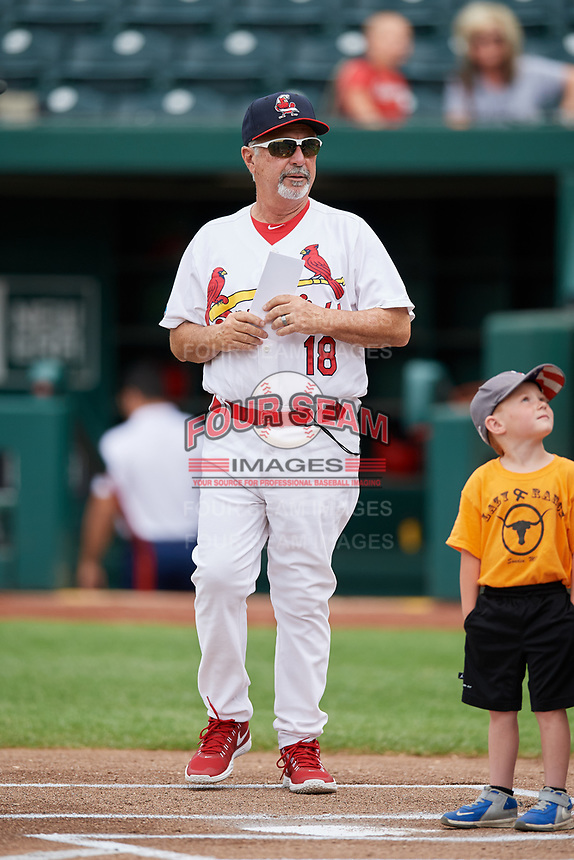 Springfield Cardinals manager Johnny Rodriguez (18) brings the lineup card to home plate before a game against the San Antonio Missions on June 4, 2017 at Hammons Field in Springfield, Missouri.  San Antonio defeated Springfield 6-1.  (Mike Janes/Four Seam Images)