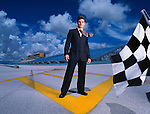 Fashion story featuring stock car driver Jeff Gordon at Homestead Racetrack for Ocean Drive Magazine
