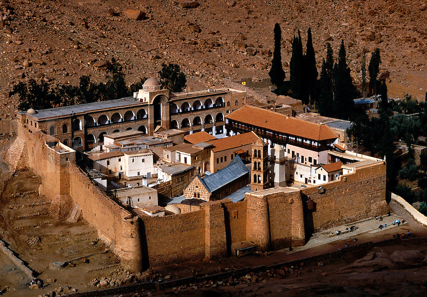 Aerial view of St. Catherine's Monastery , Coptic Christian, The Sinai, Egypt
