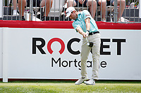 3rd July 2021, Detroit, MI, USA;   Tyler Duncan hits his tee shot on the first hole on July 3, 2021 during the Rocket Mortgage Classic at the Detroit Golf Club in Detroit, Michigan.