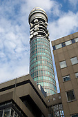 The BT Tower, formerly known as the Post Office Tower and the London telecom Tower, in Fitzrovia, central London.